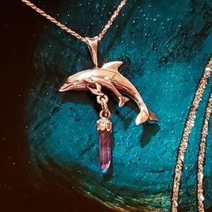 Jewelry - Sterling Silver and Amethyst Dolphin and Baby